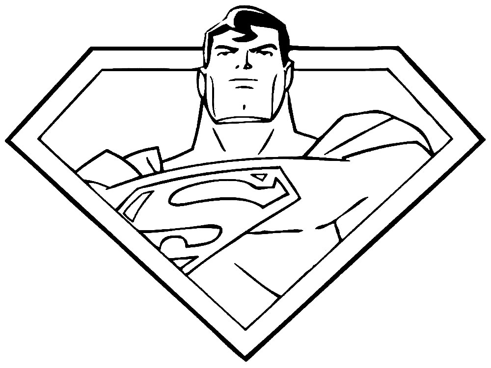 Superman in Shield Coloring Page