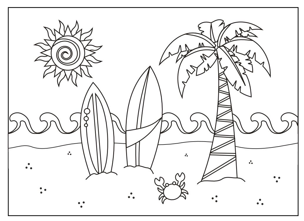 Surfboards Beach Coloring Page