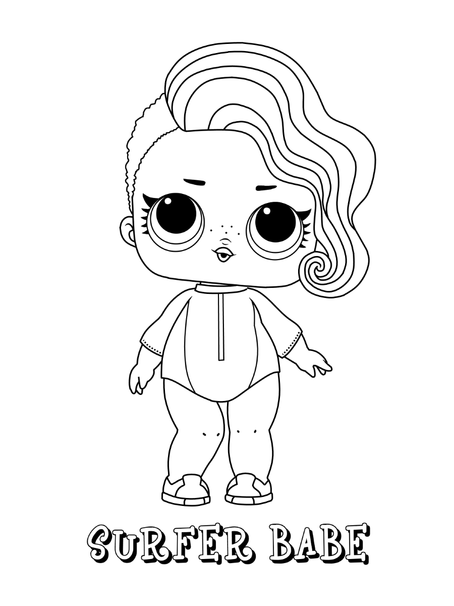 Surfer Babe LOL Dolls Coloring Pages