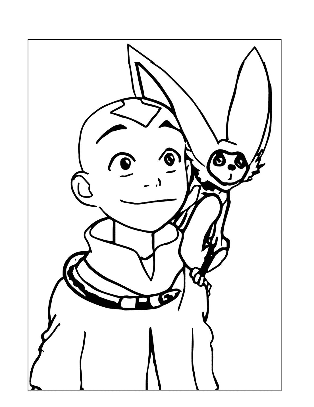 Sweet Aang And Momo Coloring Page