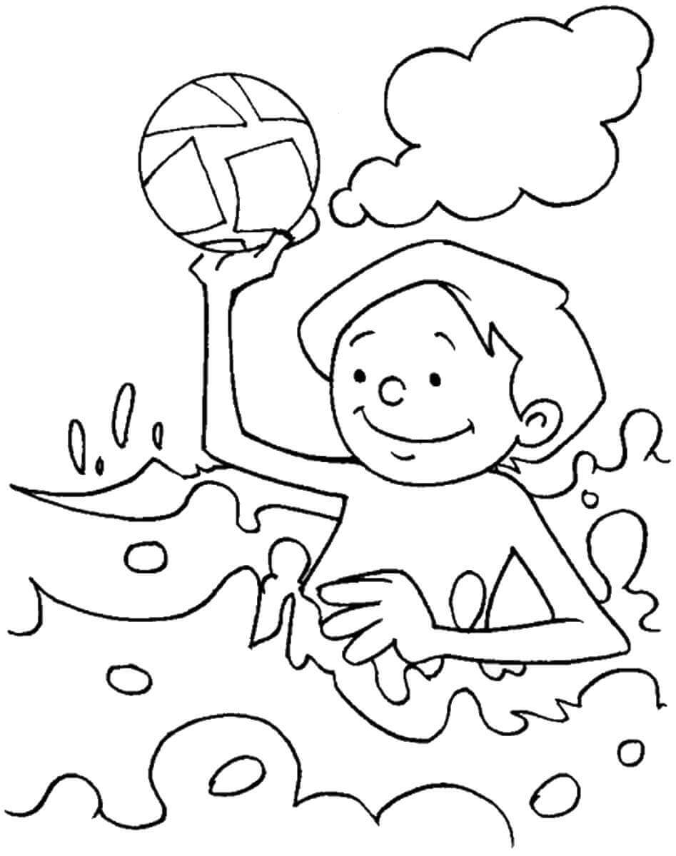 Swimming at the Beach Coloring Page