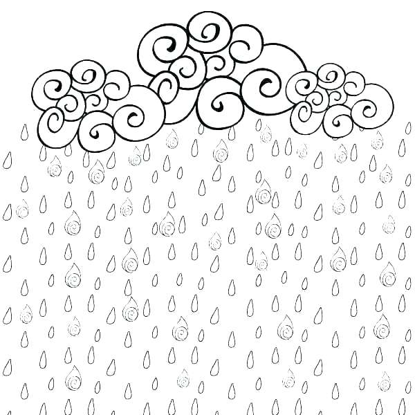 Swirly Rain Clouds Coloring Page