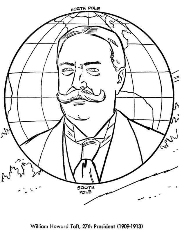 Taft Presidents Day Coloring Page