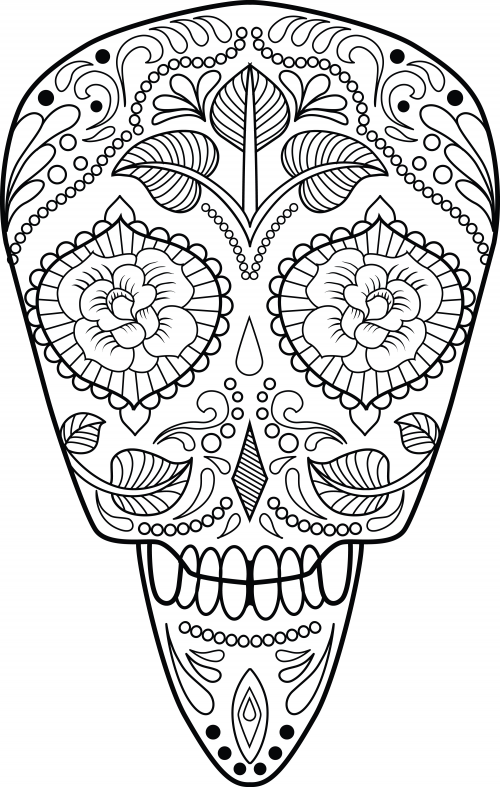 Day of the Dead Sugar Skull coloring page | Free Printable ... | 787x500