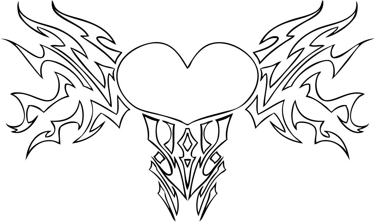 Tattoo Heart Coloring Page