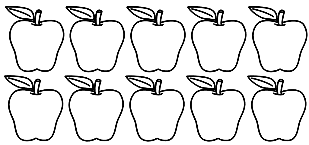 Ten Apples Coloring Sheet
