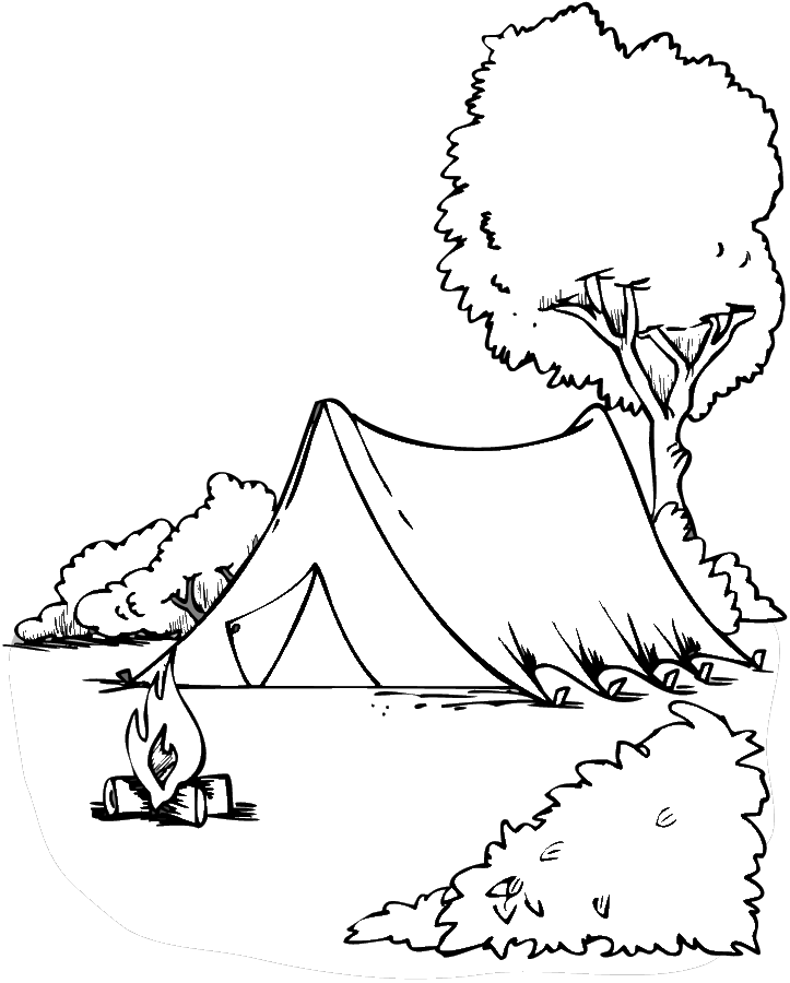 Tent for Camping Coloring Page