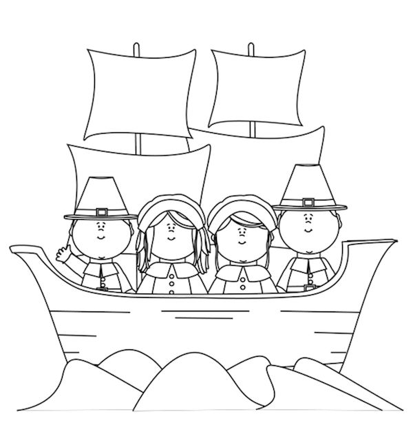 Thanksgiving Pilgrims Coloring Pages