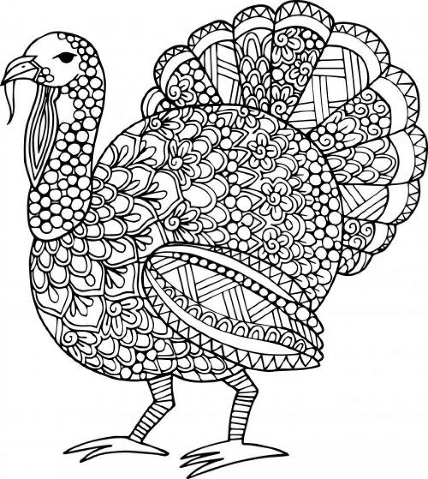 Thanksgiving Turkey Coloring Pages for Adults