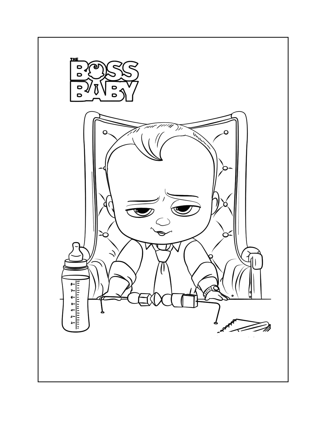 The Boss Baby At His Desk Coloring Page