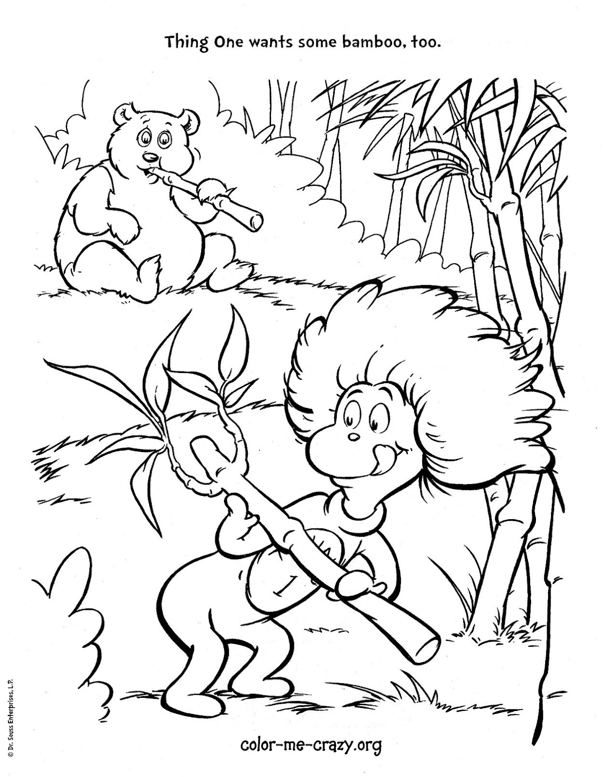 Thing 1 Cat in the Hat Coloring Pages
