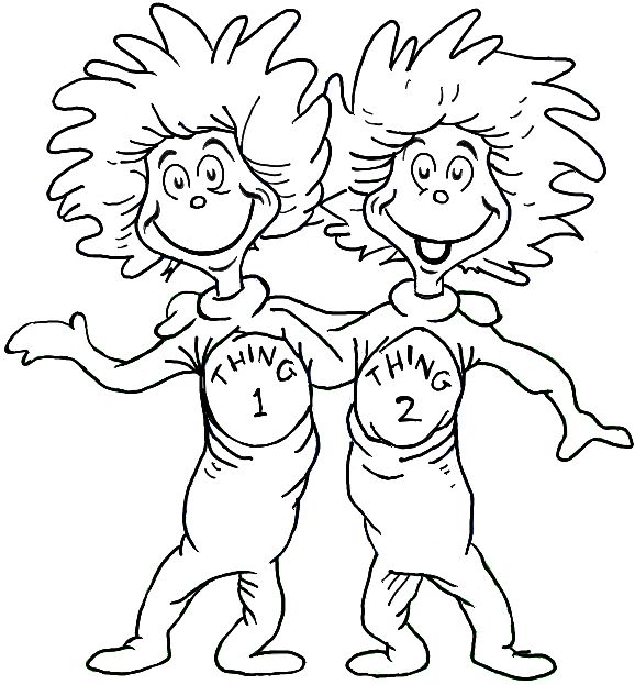 Thing 1 and Thing 2 Dr Seuss Coloring Page