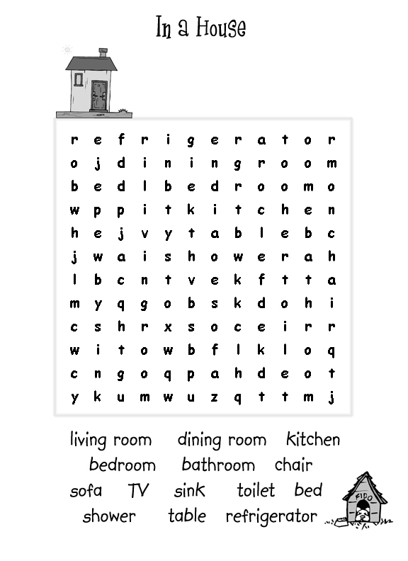 Things in a House Word Search for Kids