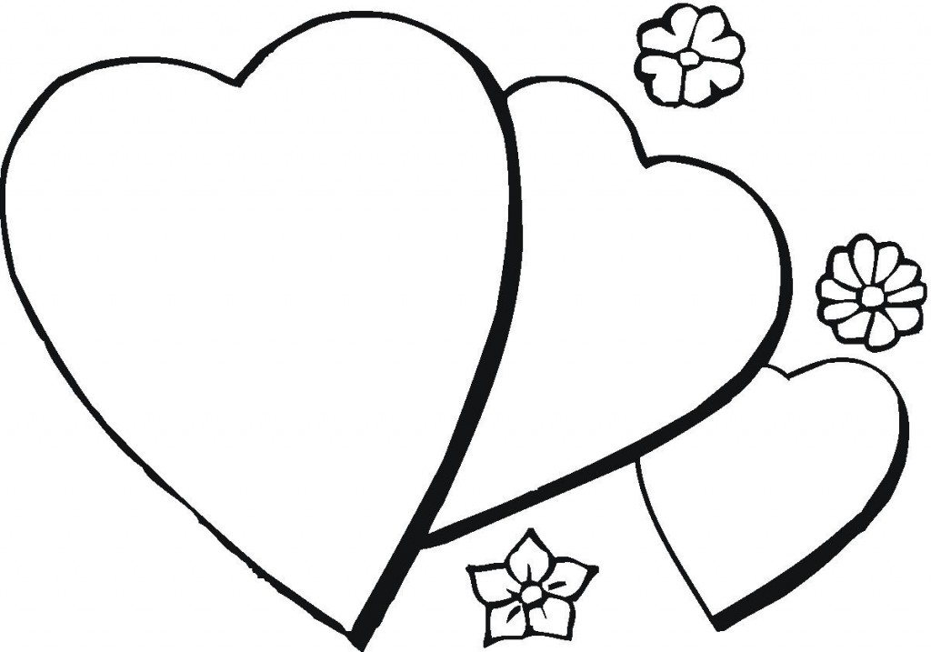 Three Easy Hearts Coloring Page