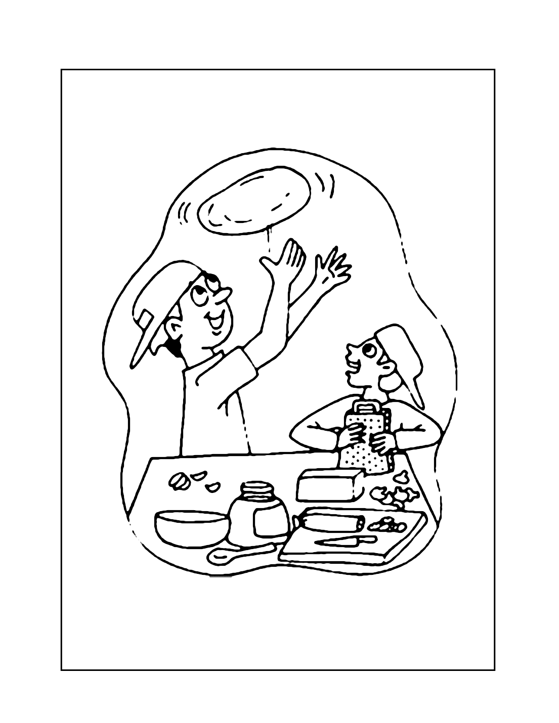 Throwing Pizza Dough Coloring Page