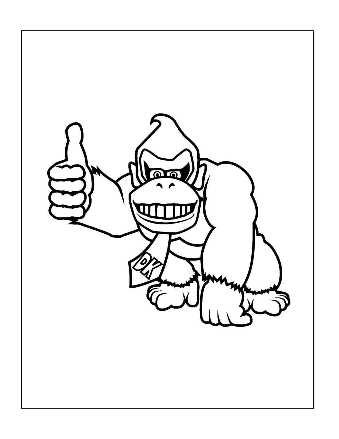 Thumbs Up Donkey Kong Coloring Page