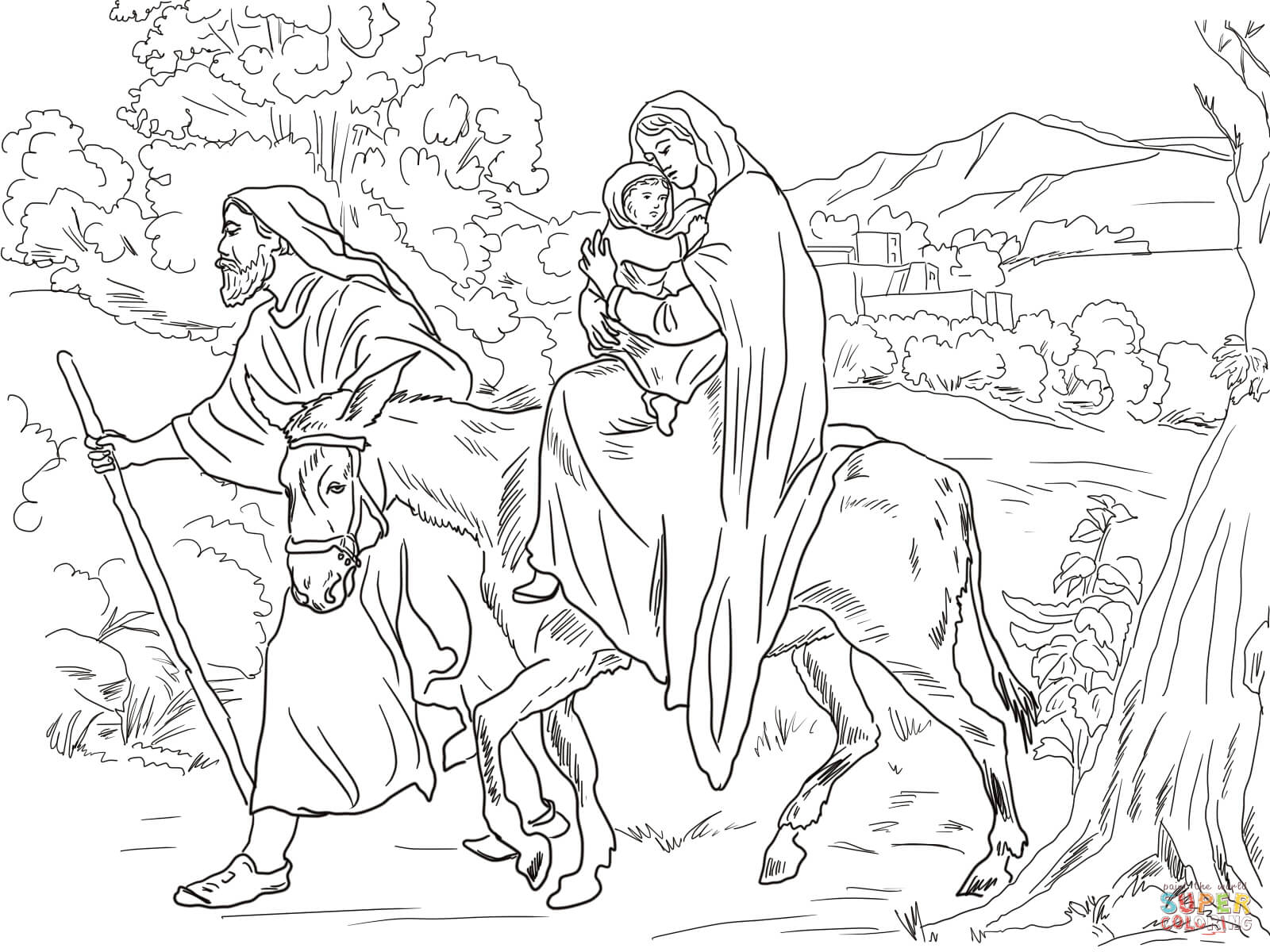 Mary and Joseph Travel to Bethlehem - Luke 2- Free Colouring Page ... | 1200x1600