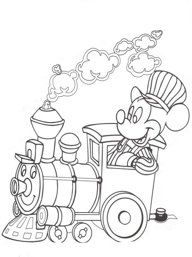 Train Conductor Mickey Coloring Page