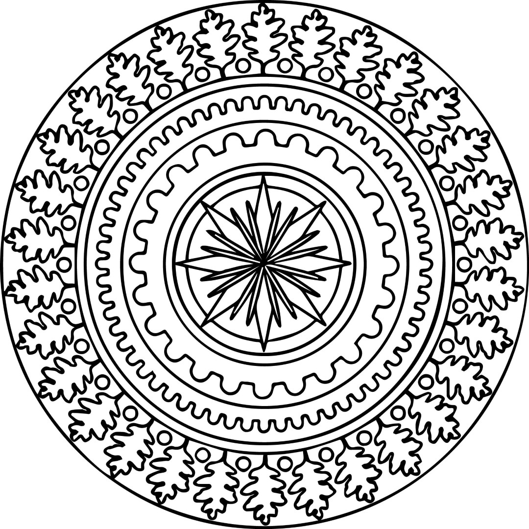 Trees and Flower Mandala Coloring Pages