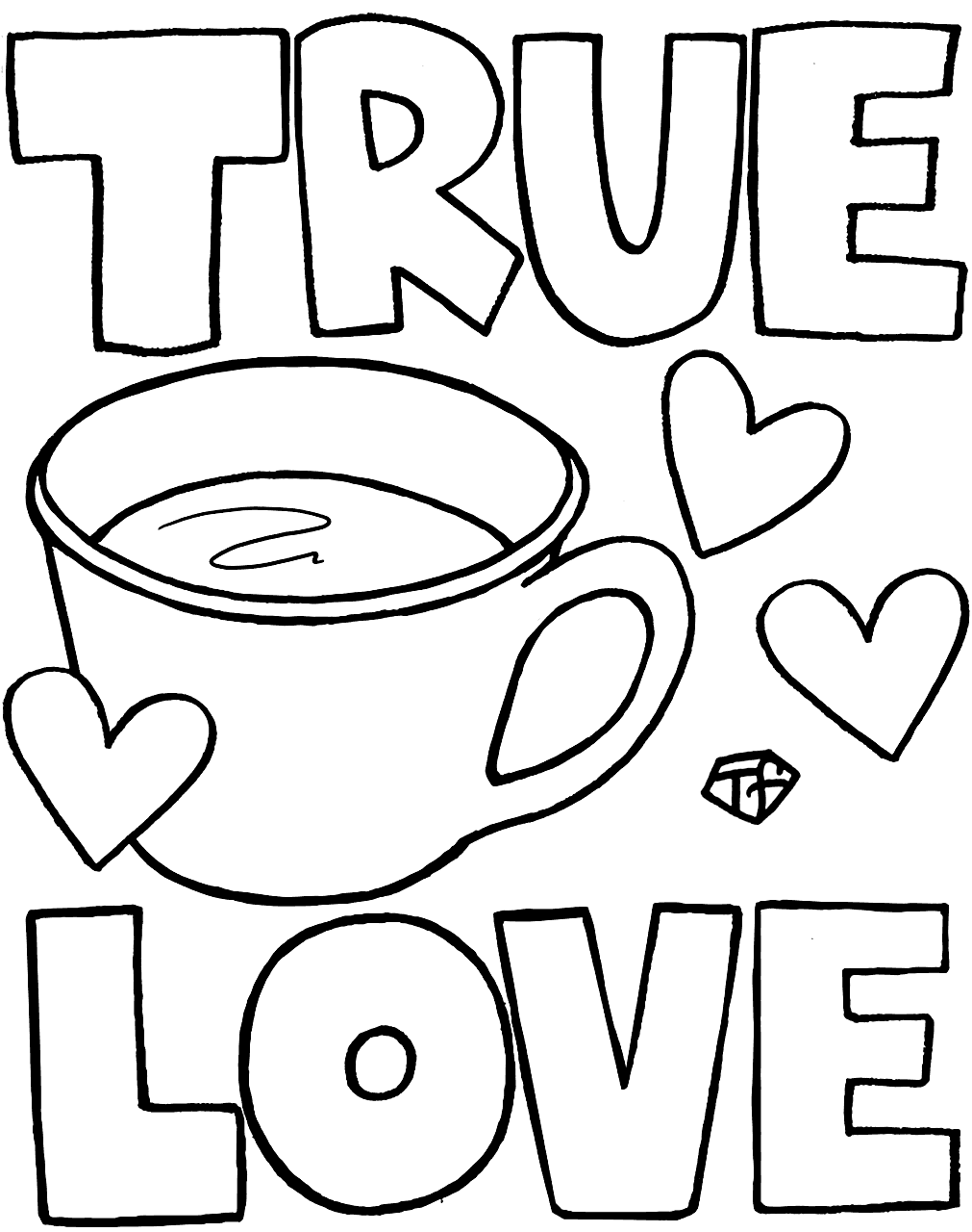 True Love is Coffee Coloring Page