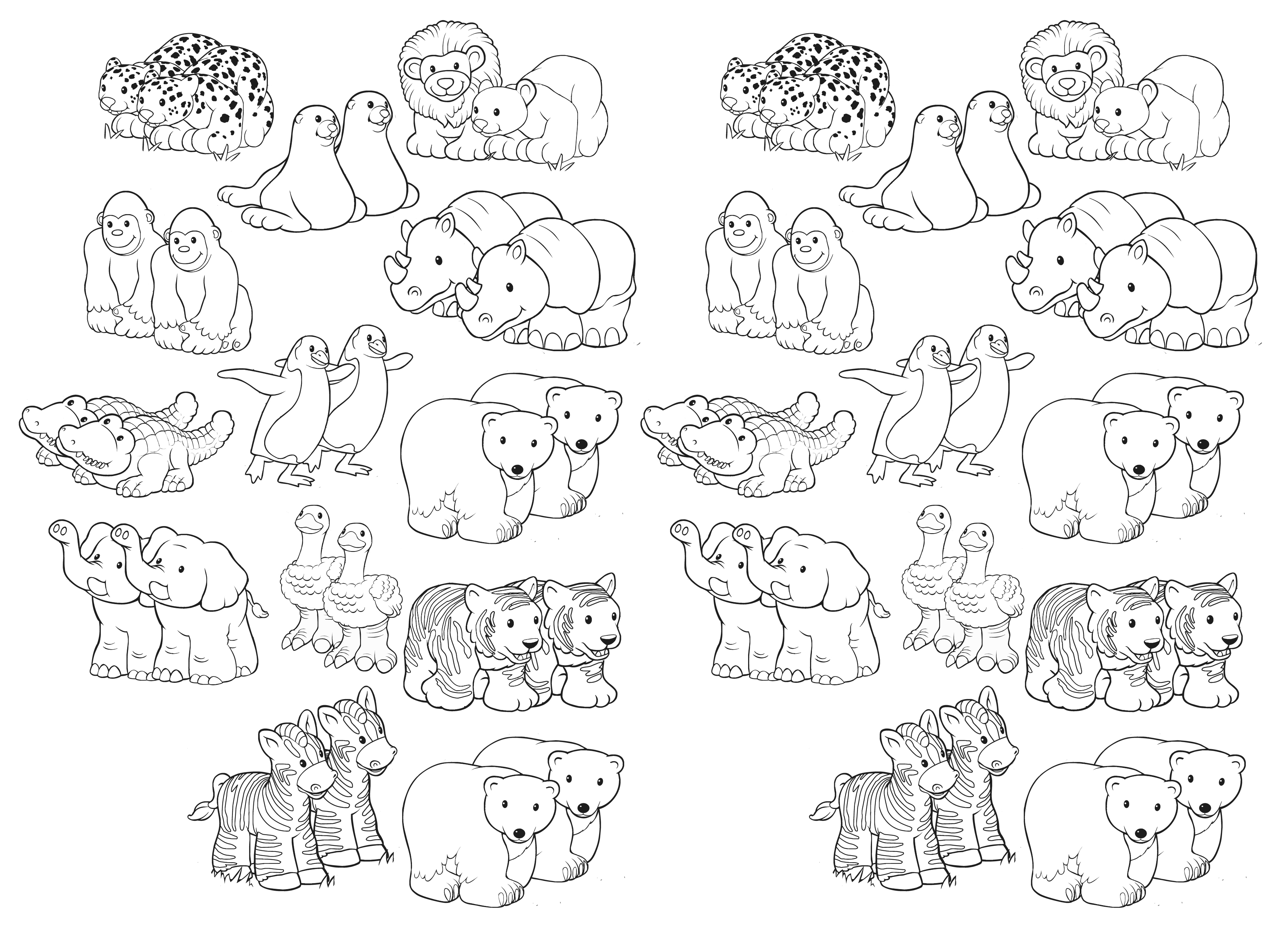 Two by Two - Bible Coloring Pages