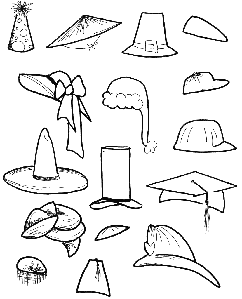 Types Of Hats Coloring Pages
