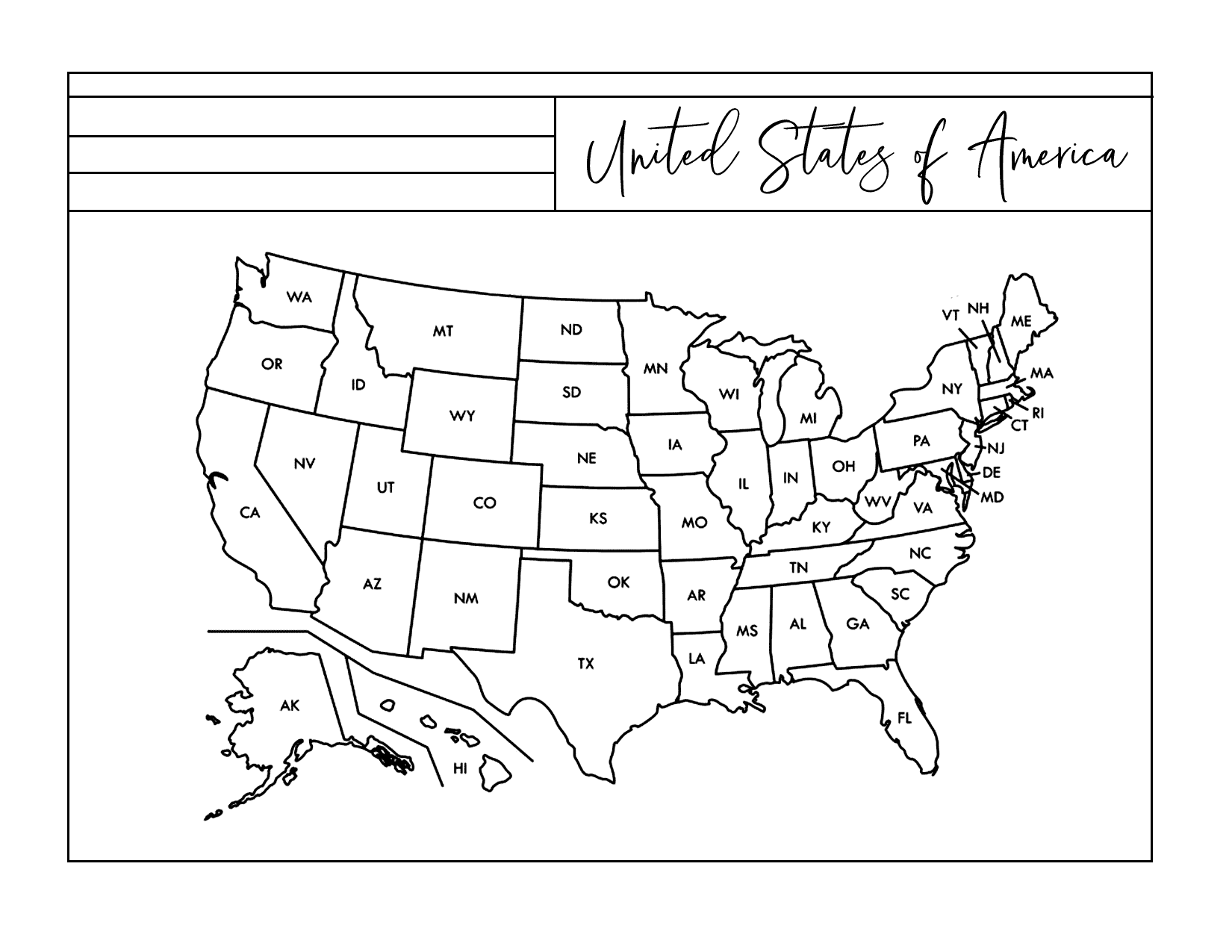 Us Printable Map Coloring Page