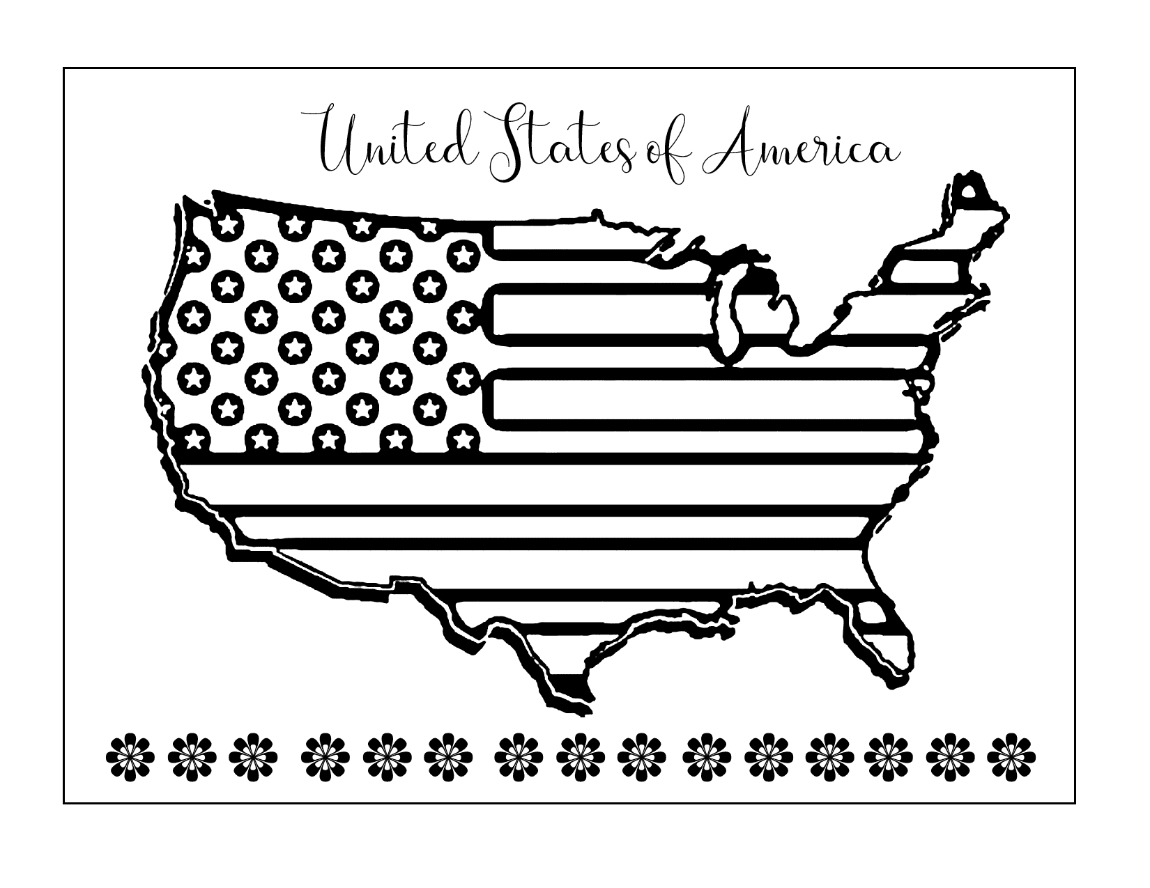 Usa Patriotic Map Coloring Page