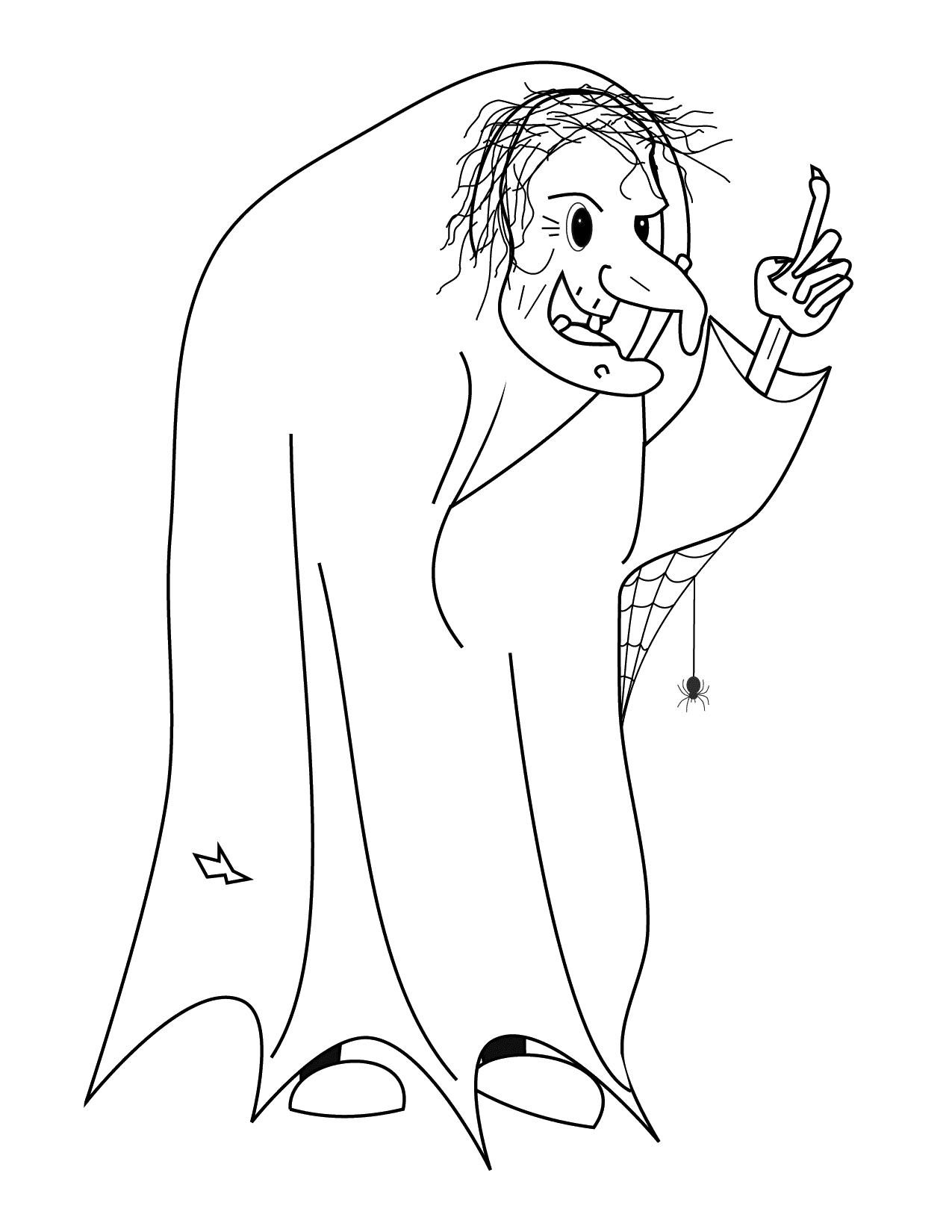 Ugly Halloween Witch Coloring Page
