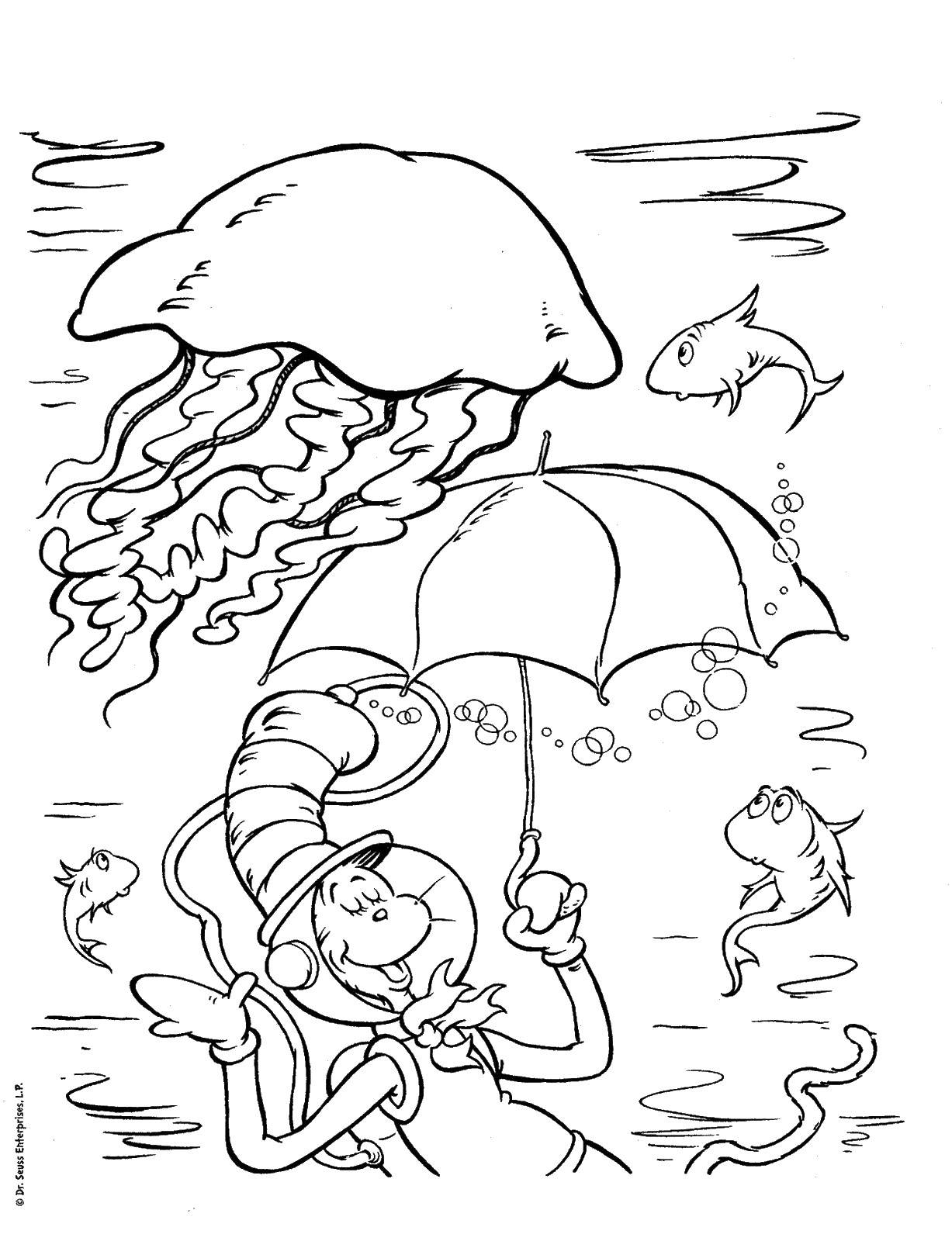Underwater Cat in the Hat Coloring Pages