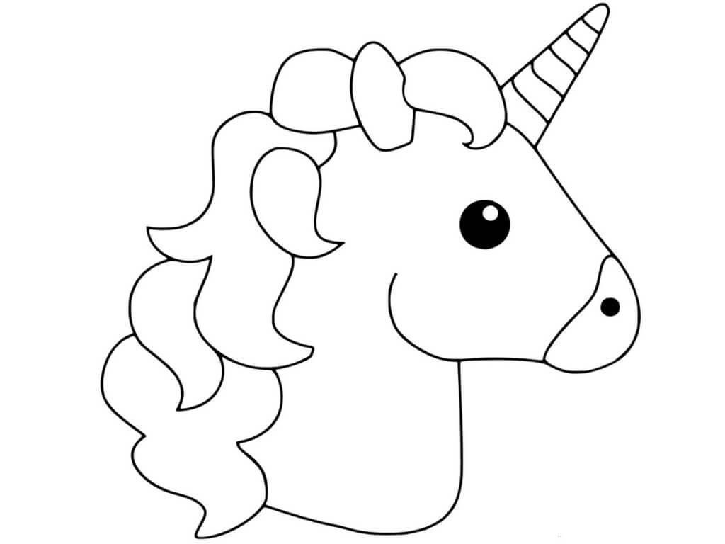 Unicorn Head Clipart to Color