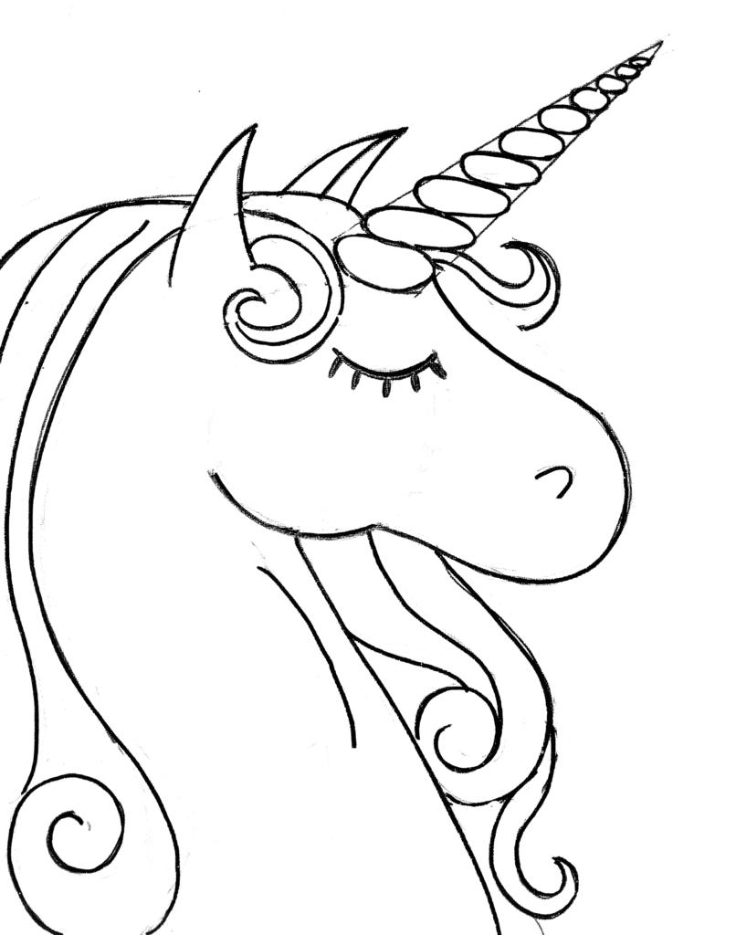 Unicorn Sketch to Color