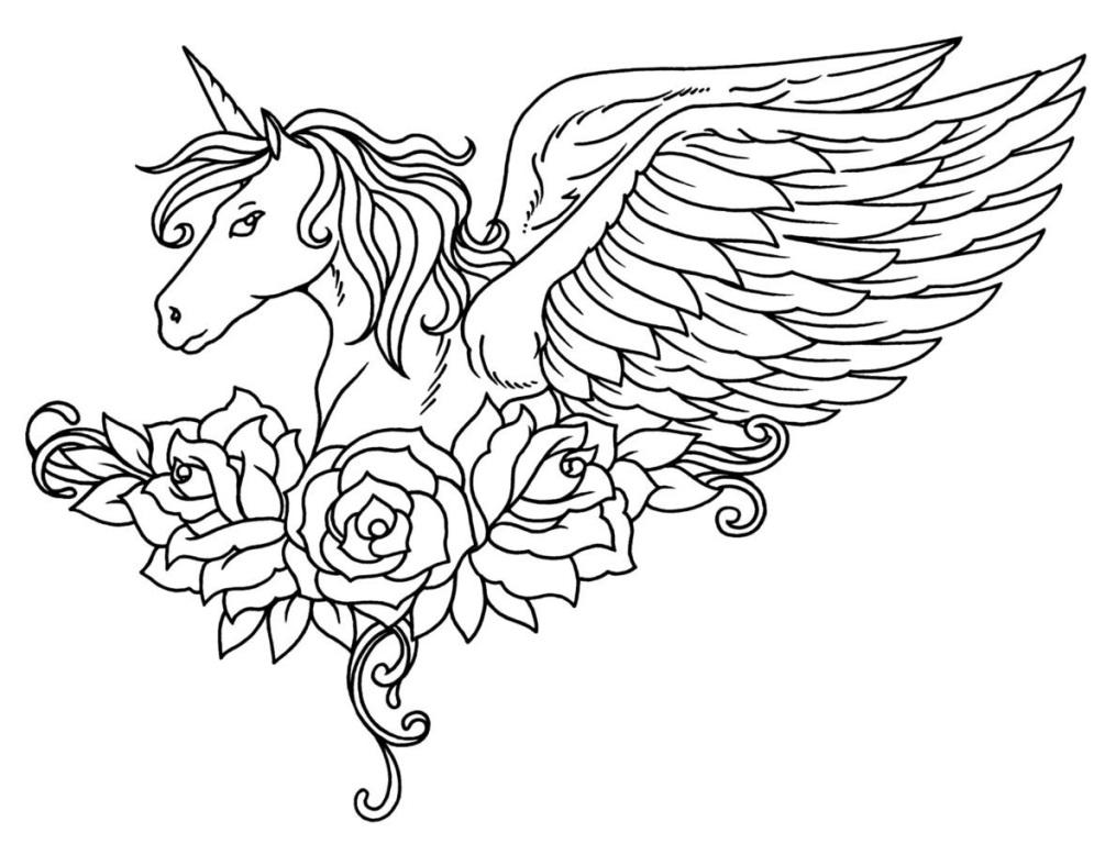 Unicorn With Wings and Roses Coloring Page