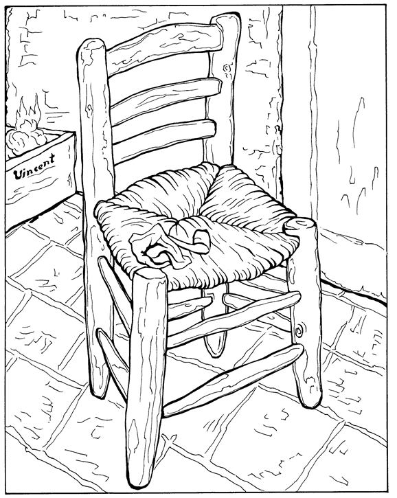 Van Goghs Chair Coloring Page