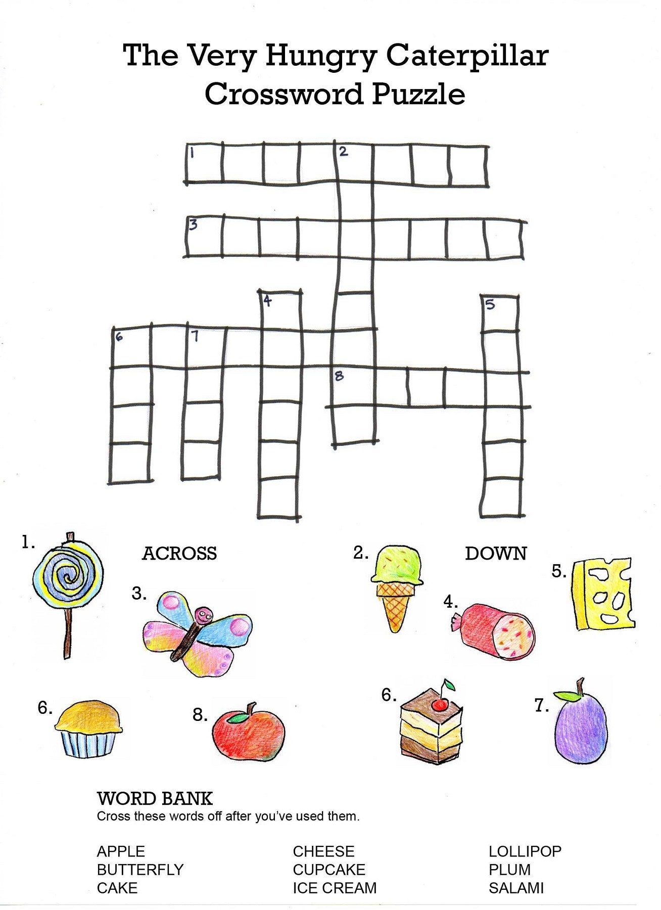 Very Hungry Caterpillar Crossword