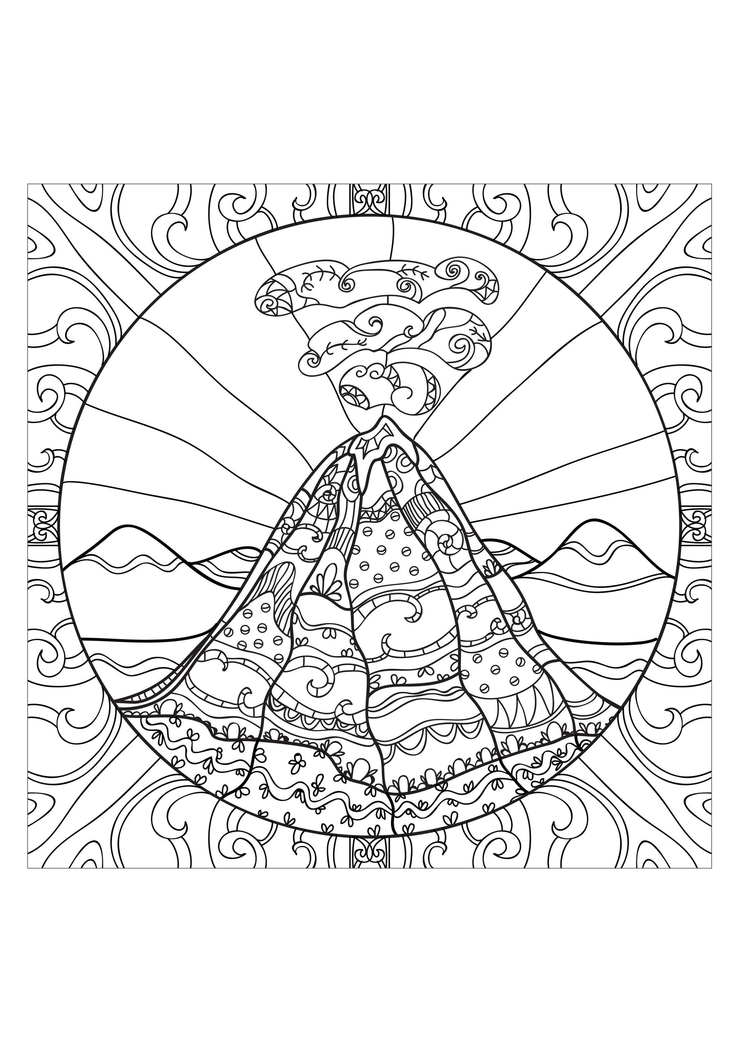 Volcano Coloring Pages for Teens