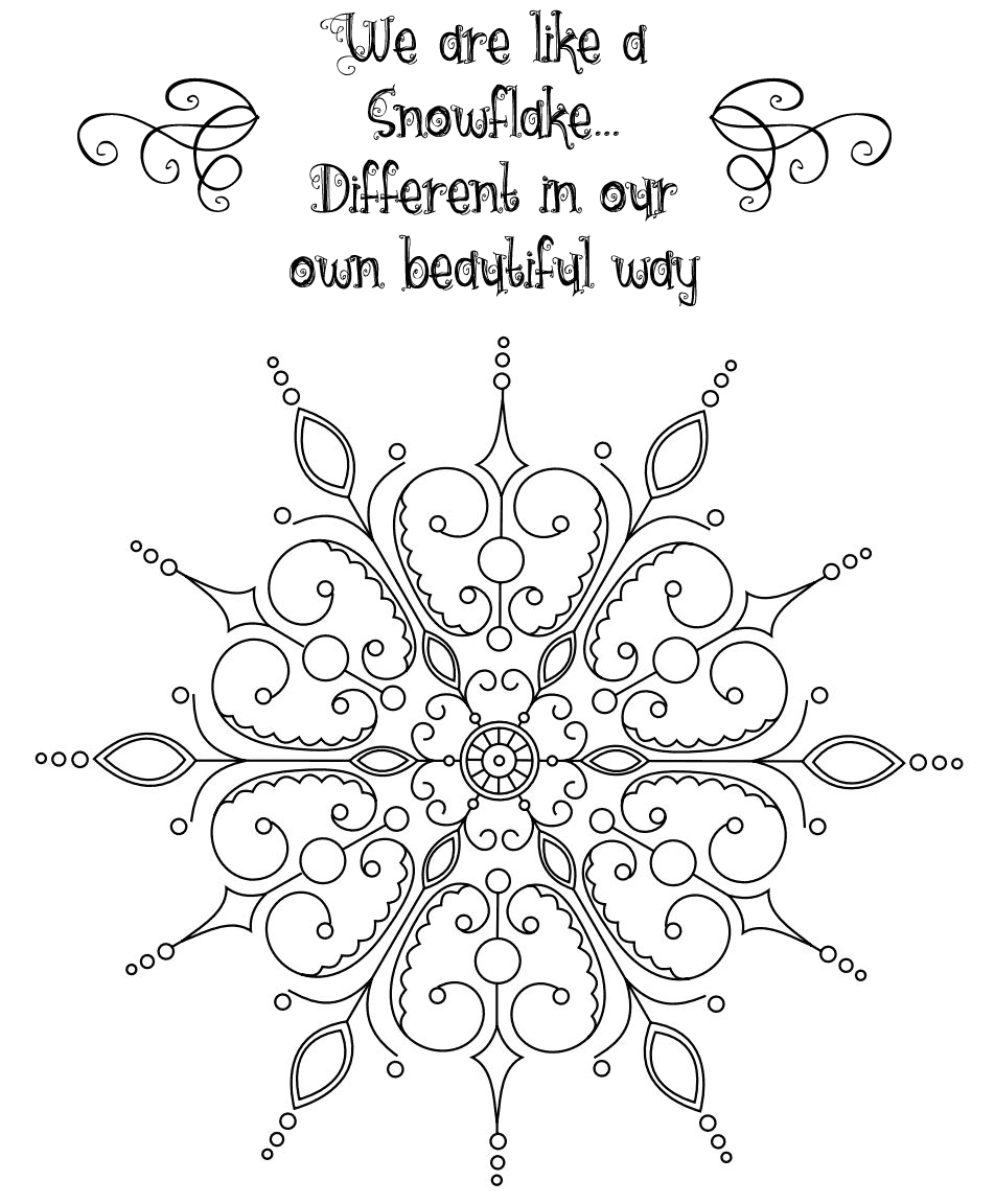 We Are Like A Snowflake Coloring Page