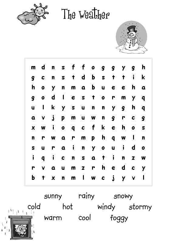 Weather Word Search for Kids