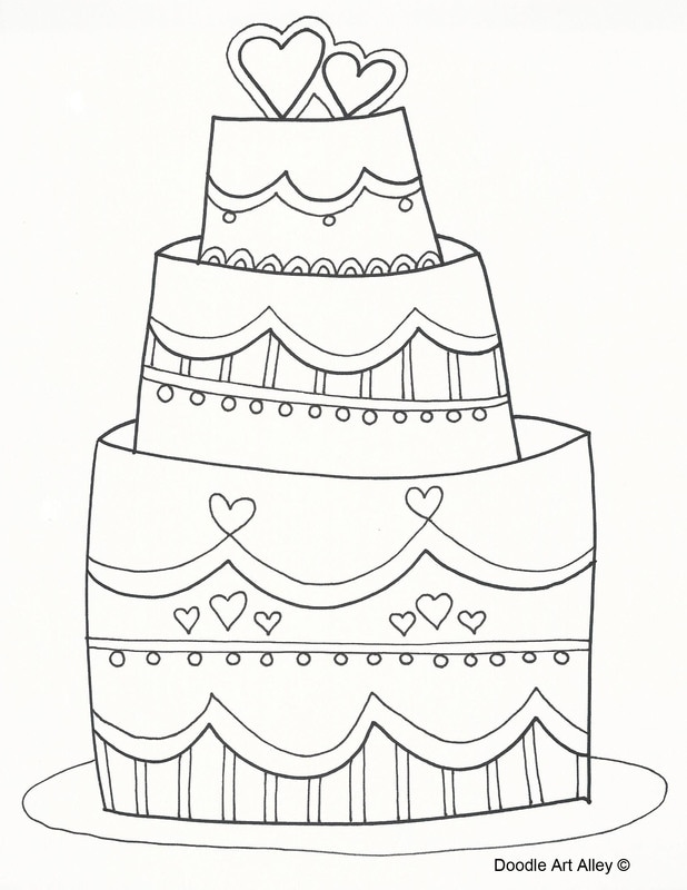 Wedding Cake Printable Coloring Pages