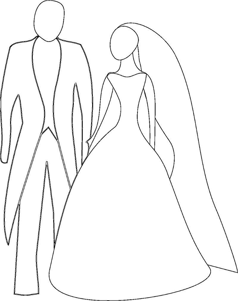Wedding Couple Sketch Clipart for Coloring