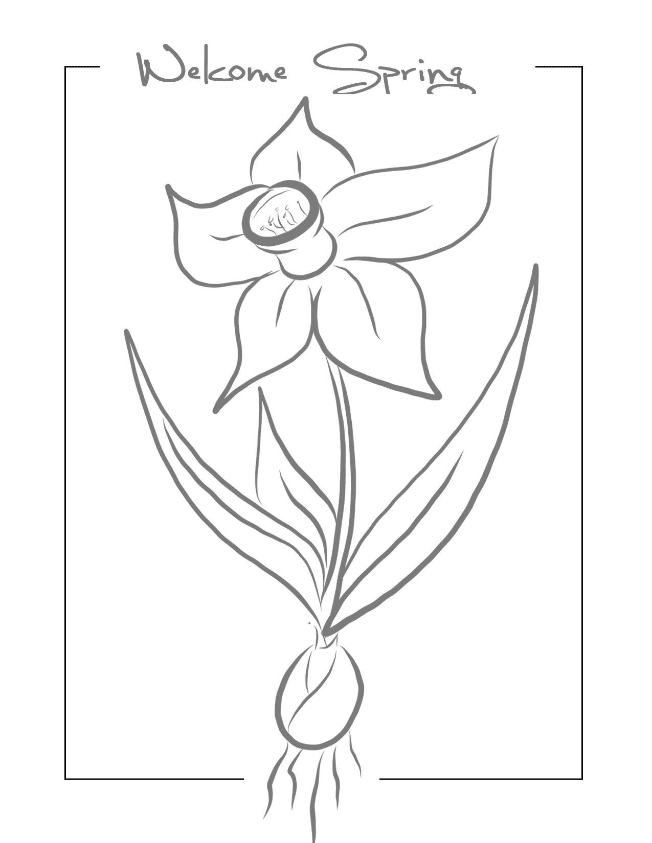 Welcome Spring Traceble Daffodil Coloring Page