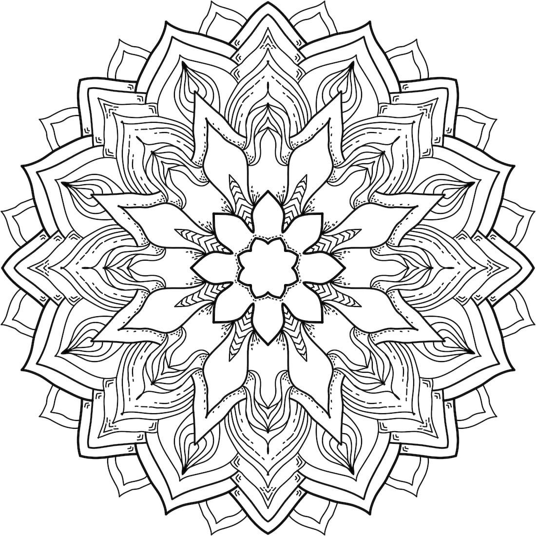 Wild Flower Mandala Coloring Pages
