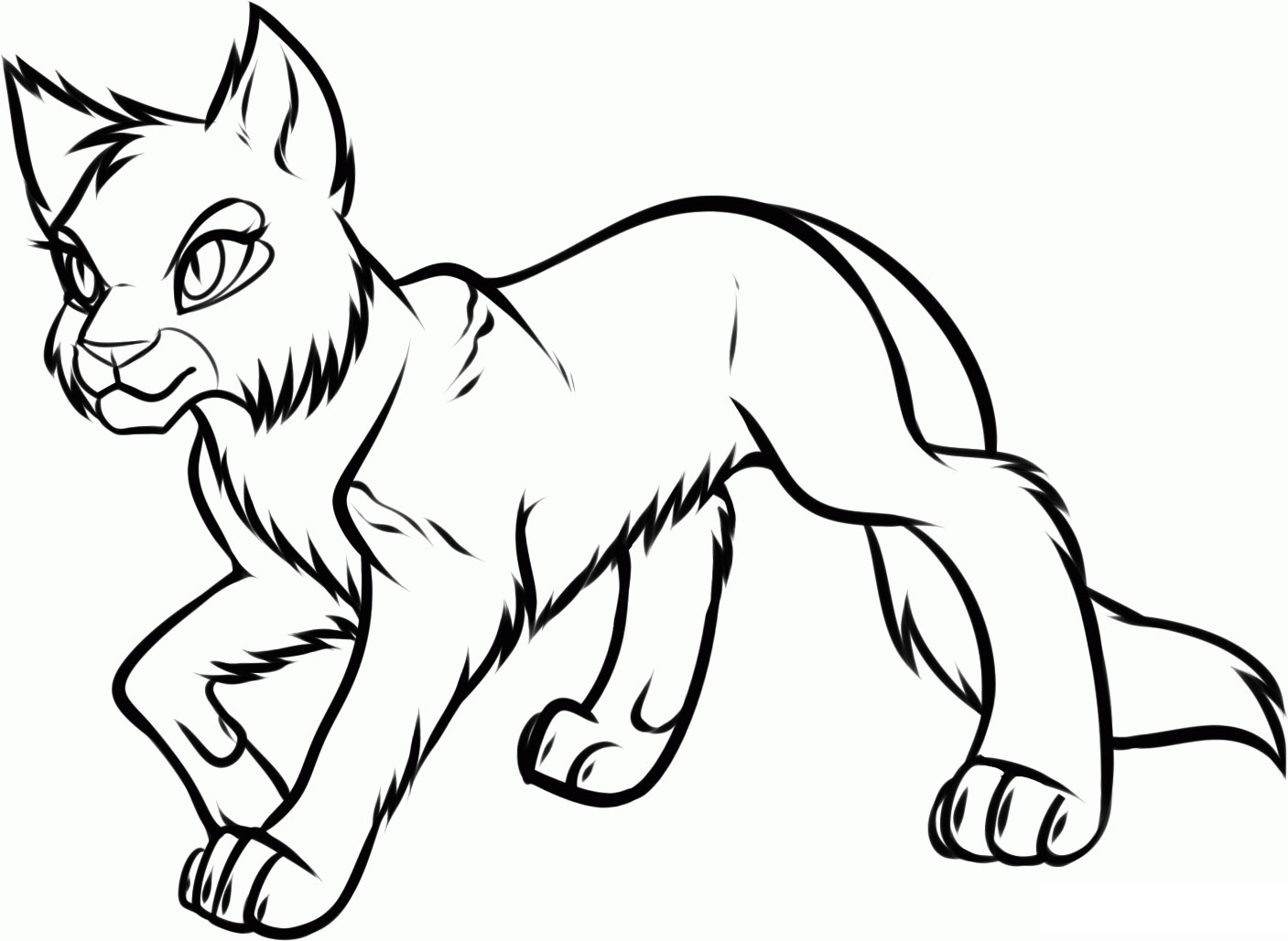 Wild Warrior Cat Coloring Pages