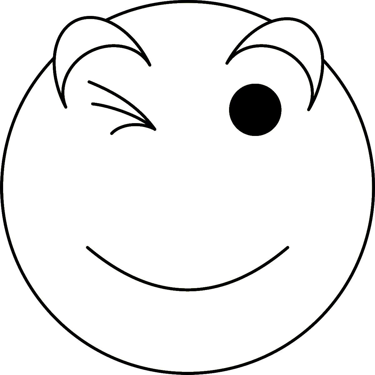 Wink Emoji Coloring Page