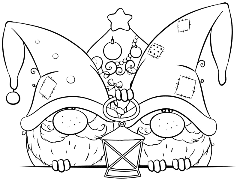 Winter Christmas Gnomes Coloring Page Coloring Rocks