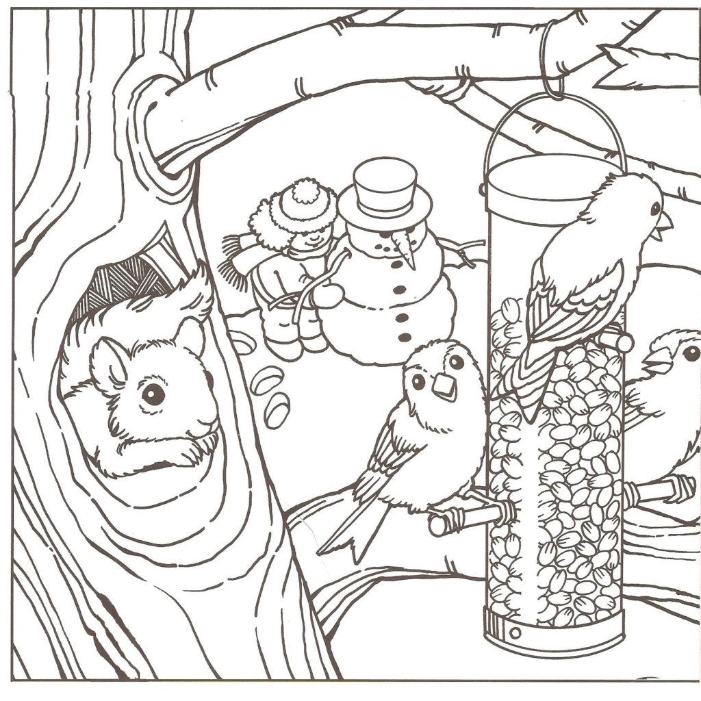 Winter Nature Scene Coloring Page Printable