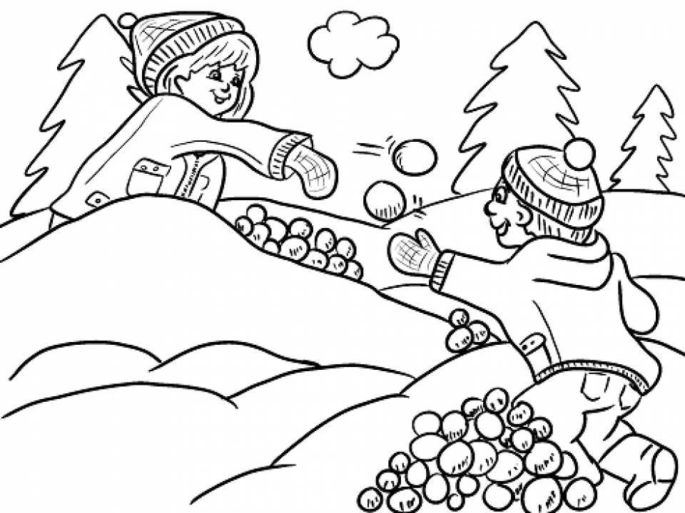Winter Snowball Fight Coloring Page