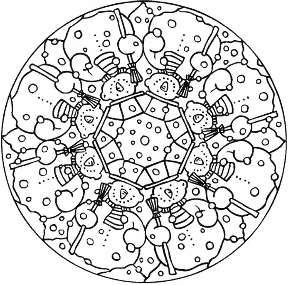 Winter Snowman Mandala Coloring Page