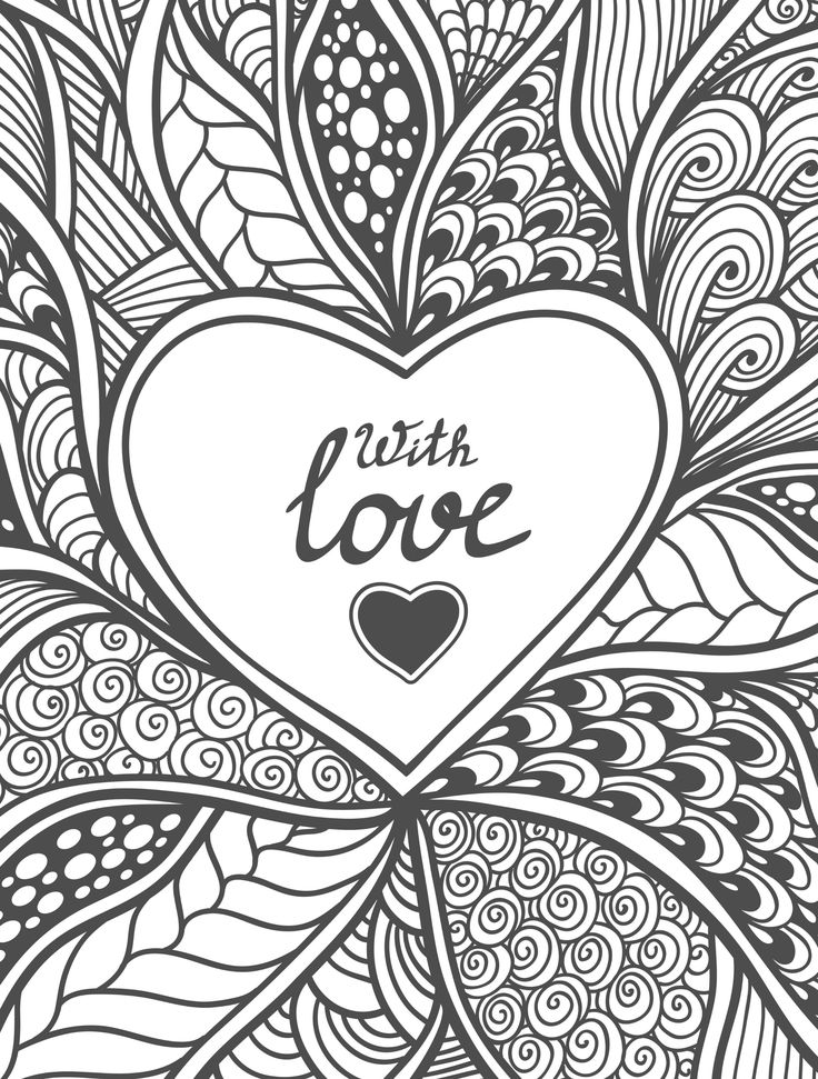 With Love Heart Coloring Page