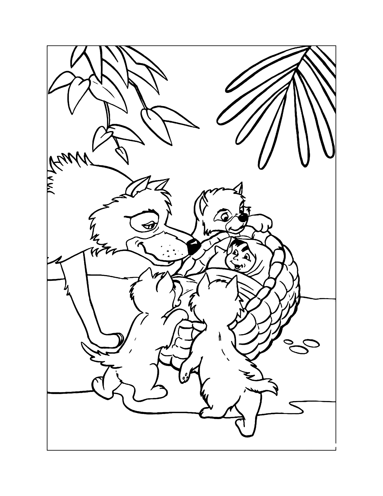 Wolves And Baby Mowgli Jungle Book Coloring Page